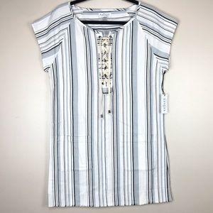 Velvet White Blue Striped Lace Front Shift Dress